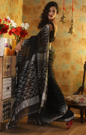 Stunning Black Linen Saree With Woven Zari Geometric Design