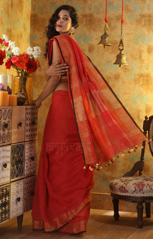 Rust Pink Linen Saree With Zari Border