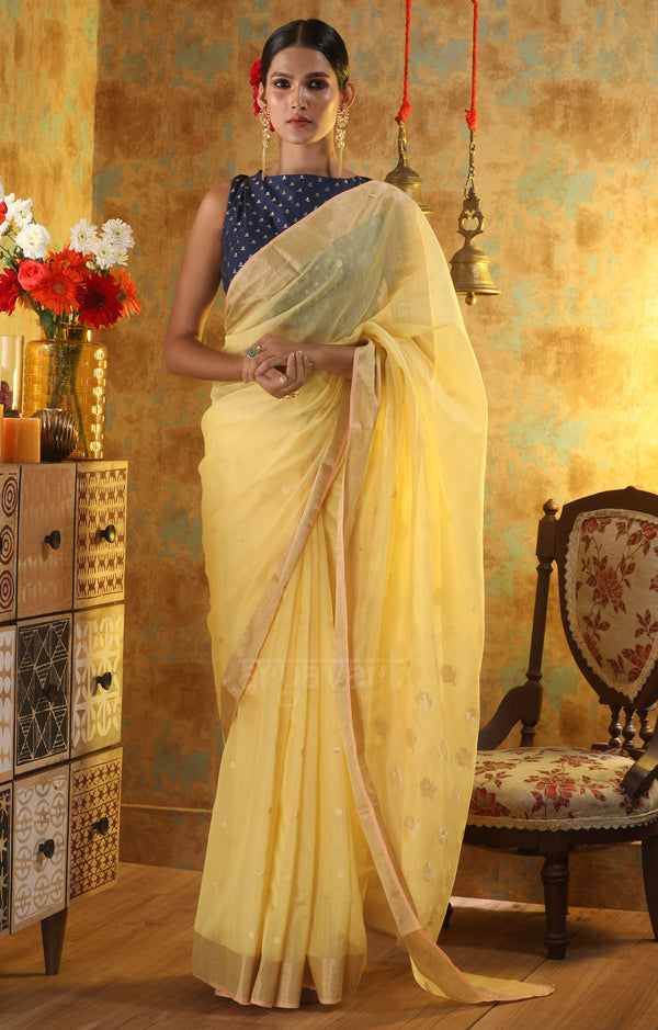 Butter Yellow Chanderi Silk Saree With Woven Zari Butta