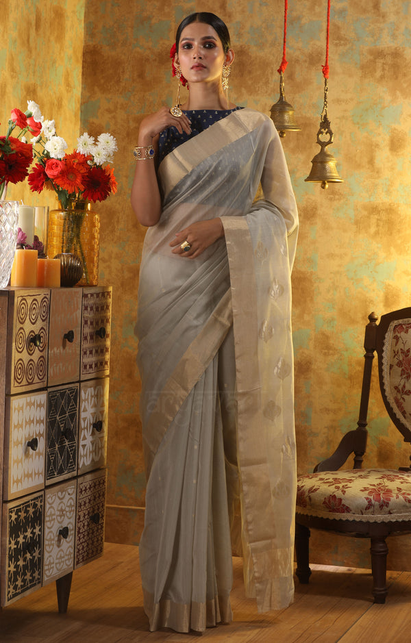 Soft Grey Chanderi Silk Saree With Woven Zari Butta