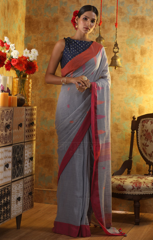 Pearl Grey Cotton Saree With Butta & Dual Tone Border