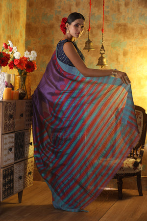 Magenta Matka Silk Saree With Temple Border & Stiped Pallu