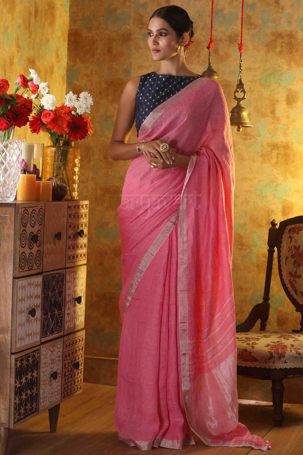 Baby Pink Linen Saree with Silver Zari Border & Pallu