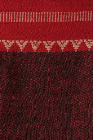 Slate Grey Linen Saree with Red Border & Woven Design