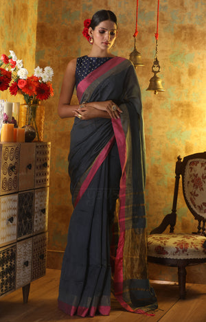 Charcoal Grey Blended Cotton Saree With Pink Border