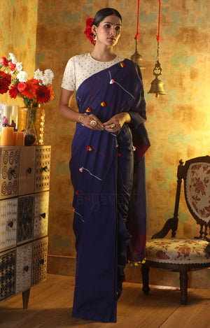 Ink Blue Cotton Saree With Multicoloured Tassels