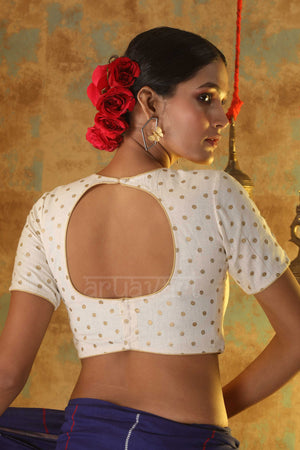 Off-White Khadi Gold Foil Polka Dot Blouse