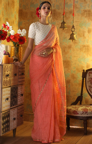 Peach Green Blended Cotton saree