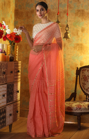 Peach Blended Cotton saree