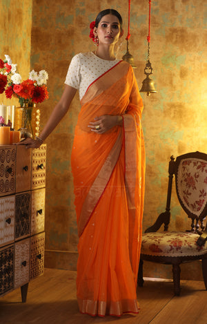 Tangerine Orange Chanderi Silk Saree With Woven Zari Butta