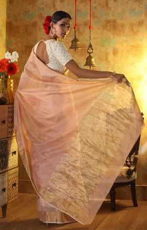 Soft Peach Chanderi Silk Saree With Horizontal Zari Stripes