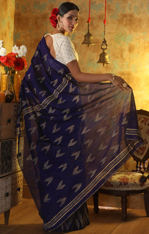 Ink Blue Blended Cotton Saree With Woven Geometric Design