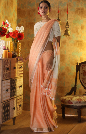 Peach Linen Saree with Zari Border & Pallu