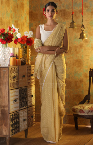 Butter Colour Jamdani Saree with Zari Buttas and Paisley Design in Pallu