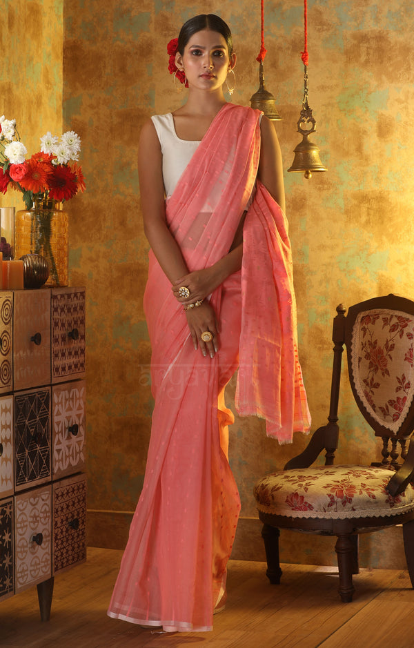 Peach Pink Jamdani Saree With Thread & Zari  work