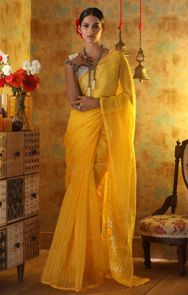 Sunshine Yellow Jamdani Saree with Zari Buttas and Paisley Design in Pallu