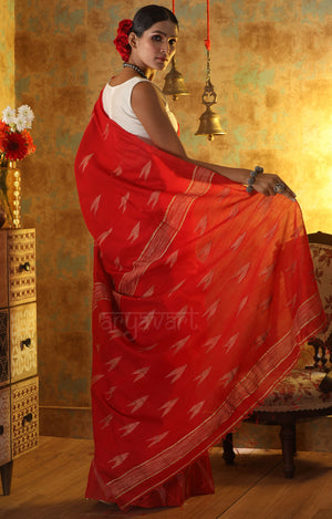 Scarlet Blended Cotton Saree With Woven Geometric Design