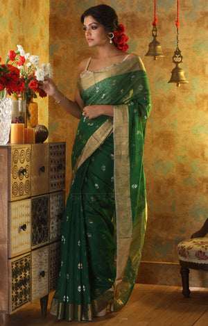 Leaf Green Chanderi Saree with Zari Floral Butta