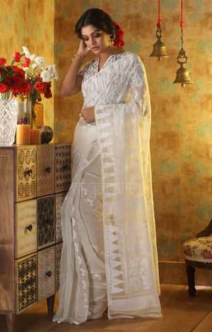 White Jamdani Saree with Thread Buttas