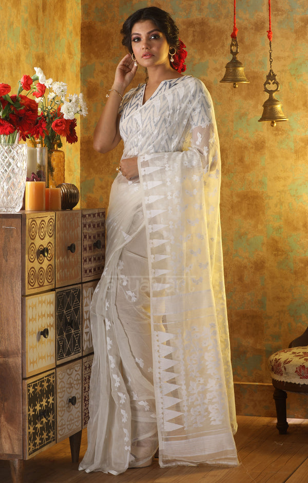 White Jamdani Saree with Thread & Zari Buttas