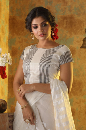 White Tissue Chanderi with Black Stripes Blouse