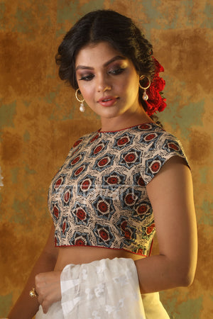 Blue, Cream & Red Kalamkari Blouse