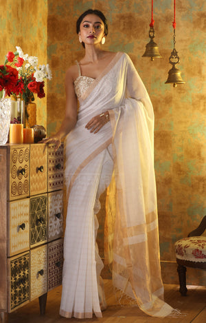 Sparkling White Cotton Saree with Gold Zari Checks & Pallu