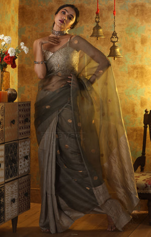 Steel Grey Matka & Reshma Silk Saree With Zari Polka Dot Butta