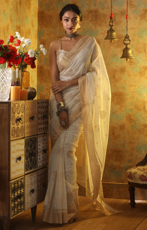 Stunning White Chanderi Saree With Gold Zari Butta & Border