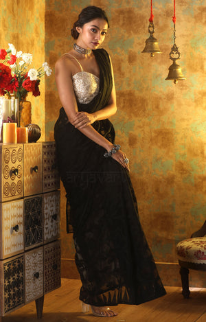 Black Jamdani Saree With Stunning Vine  Woven Design