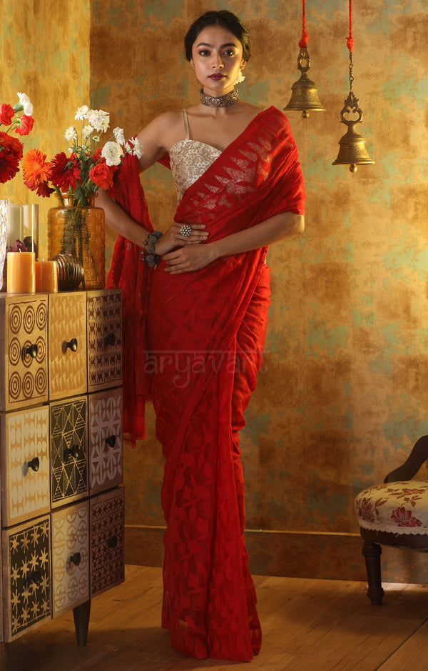 Red Jamdani Saree With Stunning Thread Vine Woven Design