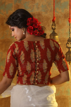 Burnt Red Printed Blouse