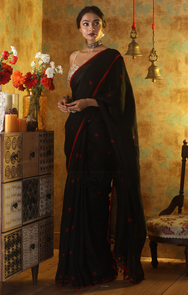 Black Linen Saree With Red Woven Cube Motifs