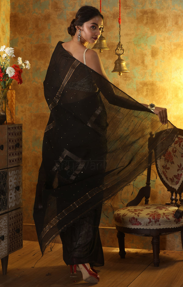 Black Blended Cotton Saree With Sequence & Woven Square Design