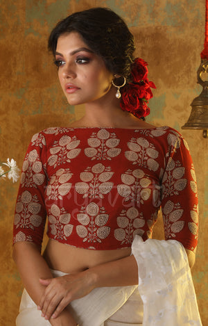 Earthy Red Leaf Motif Kalamkari Blouse