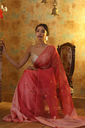 Blush Pink Matka Silk Saree With Zari Polka Dot Butta