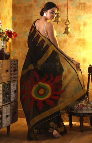 Black Silk Linen Saree with Stunning Sun Motif in the Pallu