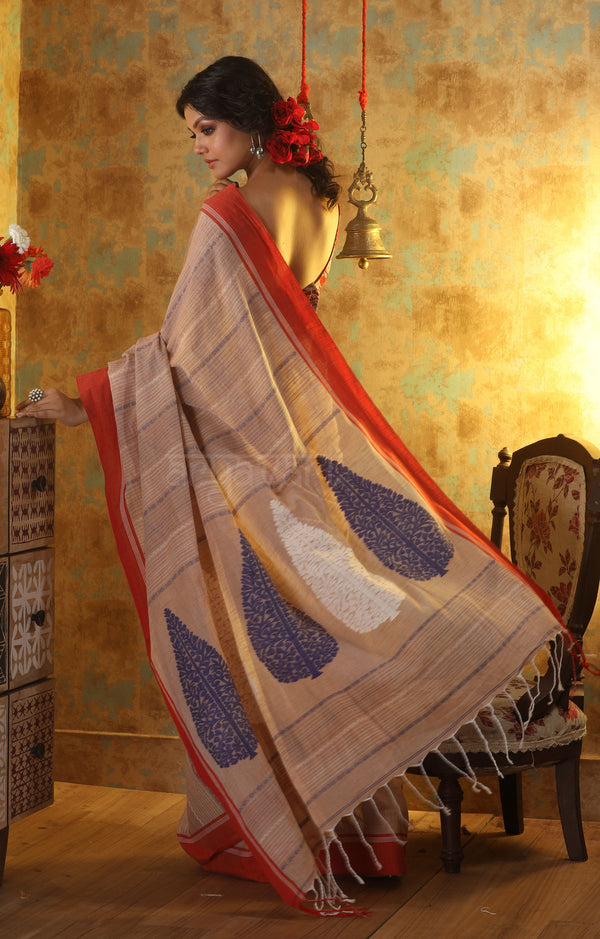 Beige Khadi Cotton With Paisley Woven Designs in Pallu