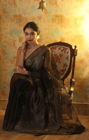Black Silk Saree With Woven Zari Motifs & Border