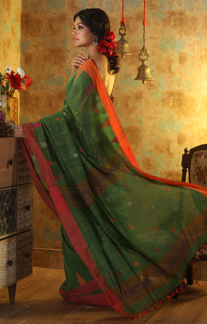 Leaf Green Cotton Saree With Butta With Striking Red & Orange Border