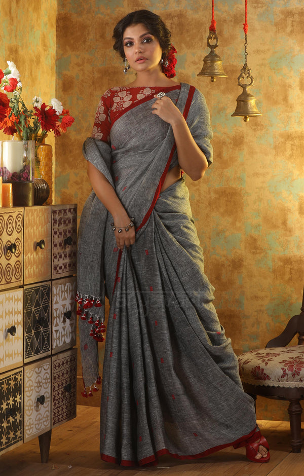 Charcoal Grey Linen Saree With Red Woven Cube Motifs