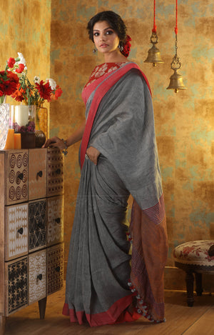 Grey Linen Saree with Red Border