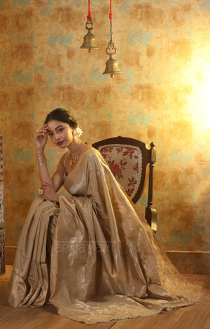 Beige Matka Silk Saree With Jamdani Woven Design In Zari