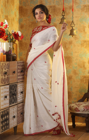 White Linen Saree With Red Woven Cube Motifs