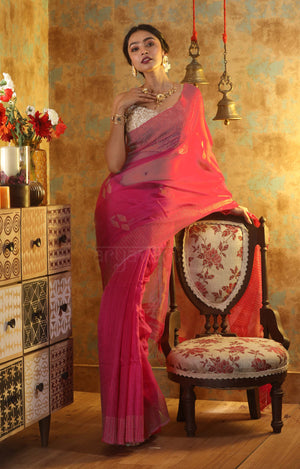 Fuchsia Silk Saree With Sequence And Woven Zari Motifs & Border