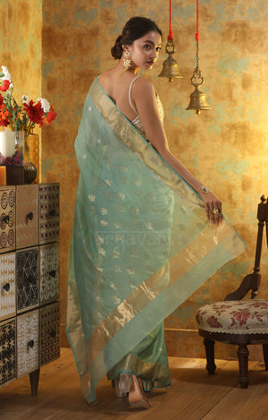 Sea Green Chanderi Silk Saree With Woven Zari Butta