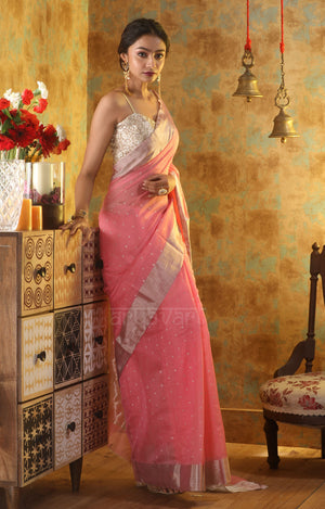 Taffy Pink Chanderi Saree With Zari Butta & Border in Silver Zari