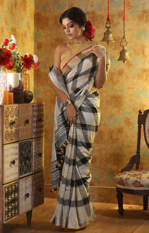 Black & White Check Linen Saree With Zari Border