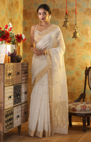 White Chanderi Saree with Flower Bud Zari Butta
