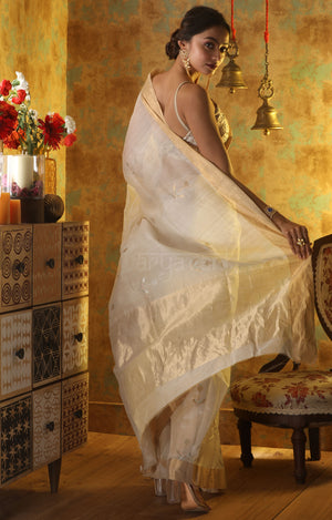 Sparkling White Chanderi Saree with Flower Bud Zari Butta